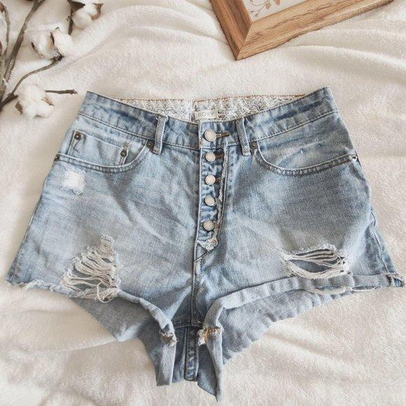 Roxy High Waist Button Down Denim Jean Shorts 27